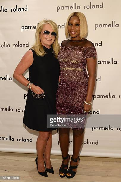 Designer Pamella Roland and Singersongwriter Mary J Blige poses backstage at the Pamella Roland Spring 2016 fashion show at The Whitney Museum of...