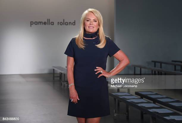 Designer Pamella Roland poses before her Spring 2018 Collection Show during New York Fashion Week at Pier 59 on September 6 2017 in New York City