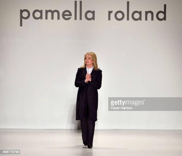 Designer Pamella Roland walks the runway at the Pamella Roland fashion show during MercedesBenz Fashion Week Fall 2014 at The Salon at Lincoln Center...