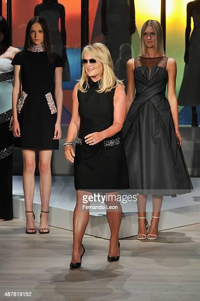 Designer Pamella Roland walks the runway at the Pamella Roland Spring 2016 fashion show at The Whitney Museum of American Art on September 11 2015 in...