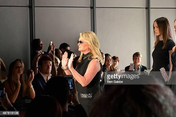 Designer Pamella Roland walks the runway during the Pamella Roland Spring 2016 fashion show at The Whitney Museum of American Art on September 11...