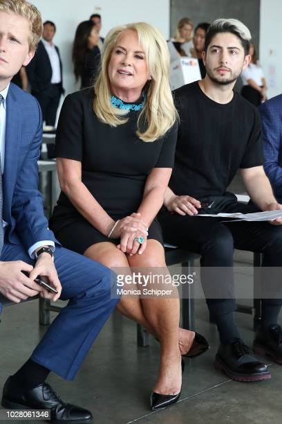 Designer Pamella Roland watches models durig rehearsal before the Pamella Roland fashion show during New York Fashion Week at Pier 59 on September 6...
