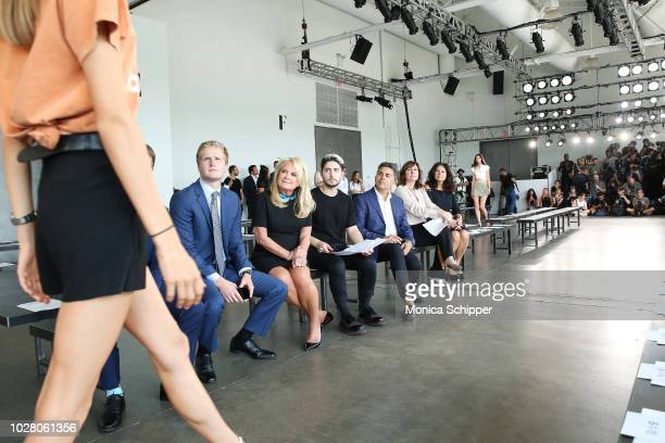 Designer Pamella Roland watches models during rehearsal before the Pamella Roland fashion show during New York Fashion Week at Pier 59 on September 6...