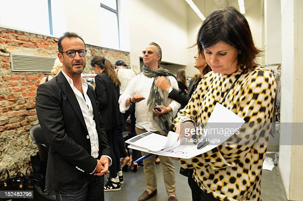 Designer Paolo Gerani backstage ahead of the Iceberg Spring/Summer 2013 fashion show as part of Milan Womenswear Fashion Week on September 21, 2012...