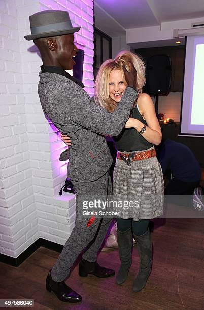 Designer Papis Loveday and Designer Sonja Kiefer during the Munich Connexxxions PR XMas cocktail event at Kaefer Atelier on November 17 2015 in...