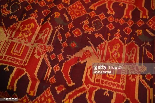 designer patola silk wedding saree, gujarat, india - sari stock pictures, royalty-free photos & images