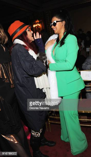 Designer Patricia Field and Rapper Cardi B attend the Christian Siriano fashion show during New York Fashion Week at the Grand Lodge on February 10...