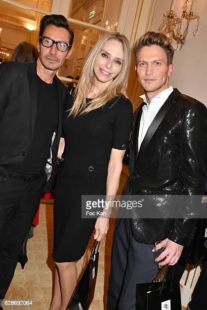 Designer Patrick Boffa Tonya Kinzinger and Pierre Barbe attend Patrick Boffa 2017 Collection Fashion Show at Plaza Athenee on December 8 2016 in...