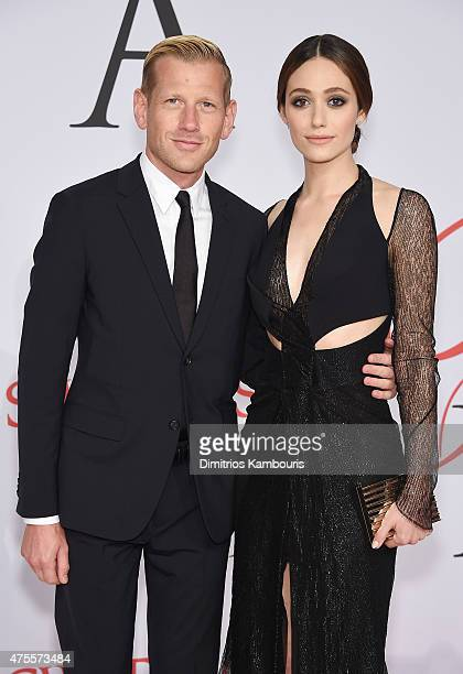 Designer Paul Andrew and actress Emmy Rossum attend the 2015 CFDA Fashion Awards at Alice Tully Hall at Lincoln Center on June 1 2015 in New York City