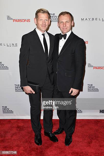 Designer Paul Andrew and Dean of Fashion at Parsons Burak Cakmak attend the 2016 Parsons Benefit at Chelsea Piers on May 23 2016 in New York City