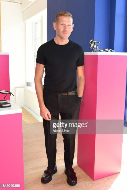 Designer Paul Andrew poses at the Paul Andrew Presentation during New York Fashion Week on September 9 2017 in New York City