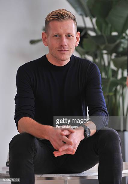 Designer Paul Andrew poses for pictures at the Paul Andrew Presentation during Fall 2016 New York Fashion Week at Ramscale Studio on February 13 2016...
