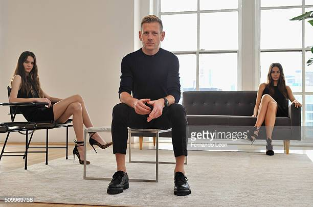 Designer Paul Andrew poses with models at the Paul Andrew Presentation during Fall 2016 New York Fashion Week at Ramscale Studio on February 13 2016...