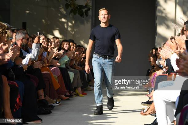 Designer Paul Andrew walks the runway at the Salvatore Ferragamo show during the Milan Fashion Week Spring/Summer 2020 on September 21 2019 in Milan...
