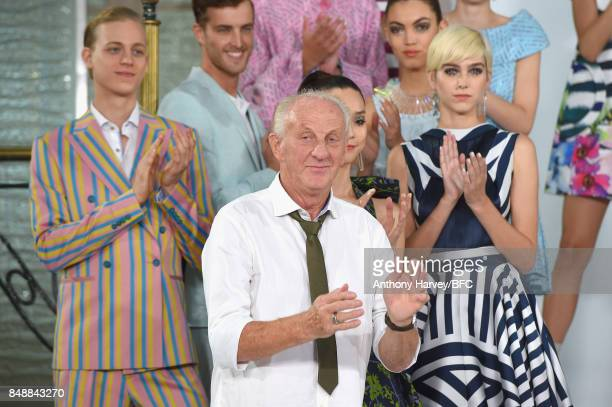 Designer Paul Costelloe and models pose on the runway at the Paul Costelloe presentation during London Fashion Week September 2017 on September 18...