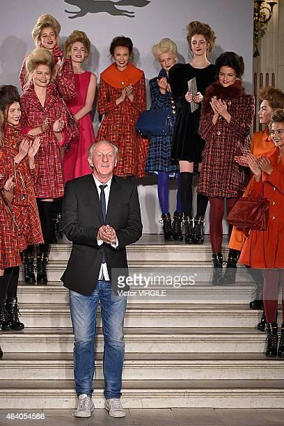 Designer Paul Costelloe walks the runway at the Paul Costelloe presentation during London Fashion Week Fall/Winter 2015/16 at The Waldorf Hilton...