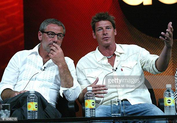 """Designer Paul DiMeo and Carpenter Ty Pennington of """"Extreme Makeover: Home Edition"""" speak with the press at the ABC Summer TCA Press Tour - Day 2 at..."""