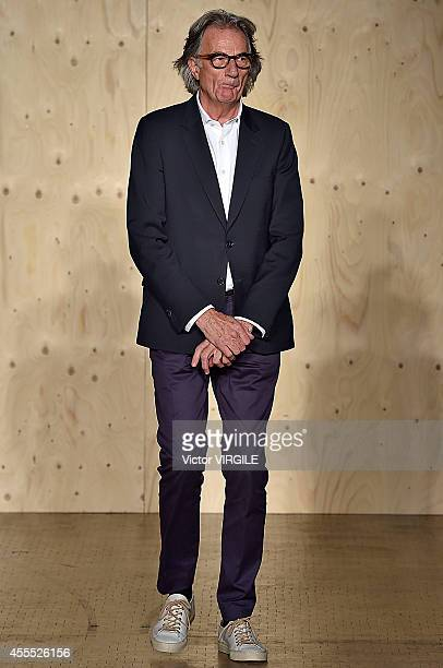 Designer Paul Smith walks the runway at the Paul Smith Ready to Wear show during London Fashion Week Spring Summer 2015 on September 14 2014 in...