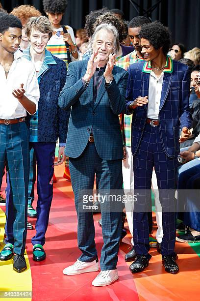 Designer Paul Smith walks the runway during the Paul Smith Menswear Spring/Summer 2017 show as part of Paris Fashion Week on June 26 2016 in Paris...