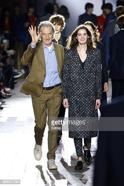 Designer Paul Smith walks the runway during the Paul Smith Menswear Fall/Winter 20172018 show as part of Paris Fashion Week on January 22 2017 in...