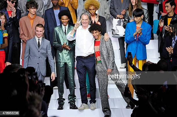 Designer Paul Smith walks the runway during the Paul Smith Ready to Wear Menswear Spring/Summer 2016 show as part of Paris Fashion Week on June 28...