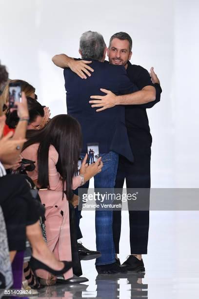 Designer Paul Surridge and Roberto Cavalli walk the runway at the Roberto Cavalli show during Milan Fashion Week Spring/Summer 2018 on September 22...