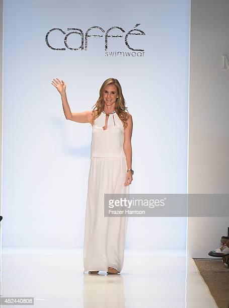 Designer Paula Saavedra walks the runway during Caffe Swimwear show at MercedesBenz Fashion Week Swim 2015 at Cabana Grande at The Raleigh on July 20...