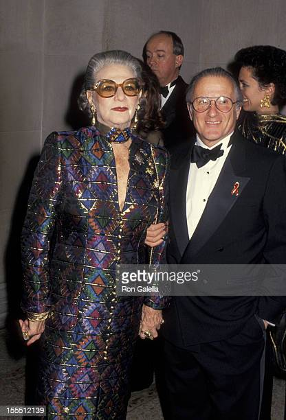 Designer Pauline Trigere and date attend Gala Evening to Benefit the New Costume Institute on December 7 1992 at the Metropolitan Museum of Art in...