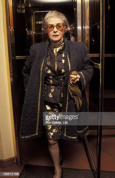 Designer Pauline Trigere attends First Annual Joan Rivers Oscar Party on March 30 1992 at San Domenico in New York City