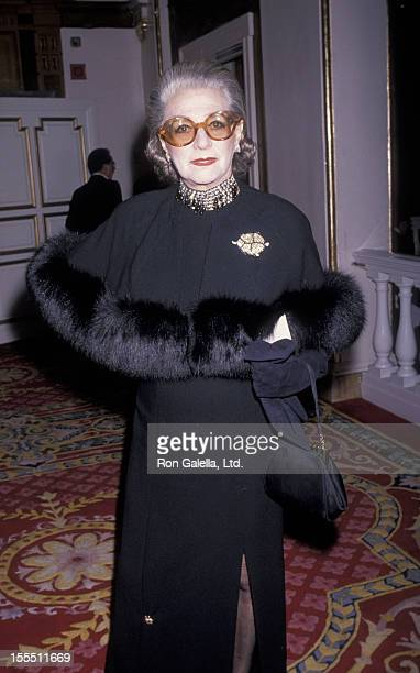 Designer Pauline Trigere attends Winter Night Gala Honoring J Peabody on November 29 1989 at the Plaza Hotel in New York City