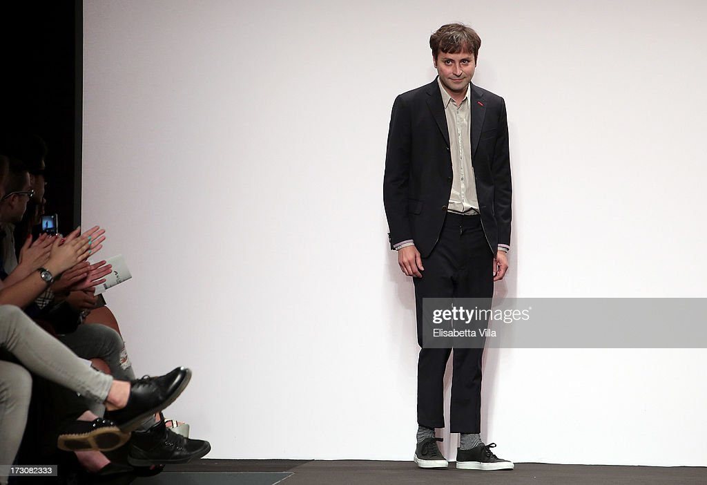 Designer Paulo Melim Andersson walks the runway during Cangiari S/S 2014 Haute Couture Handwoven eco-ethical colletion fashion show as part of AltaRoma AltaModa Fashion Week at Santo Spirito In Sassia on July 6, 2013 in Rome, Italy.