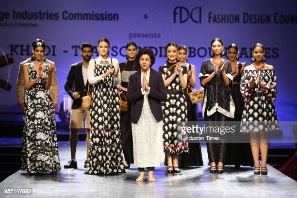 Designer Payal Jain with models walk on the ramp during the event Khadi Transcending Boundaries It included a fashion show by designers Anju Modi...