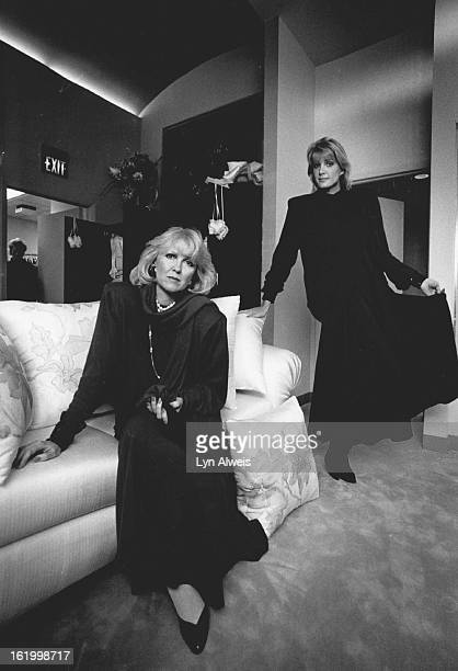 Designer Peggy Jennings in her boutique at the International Collection, 601 S. Broadway.; Modeling one of her outfit is model Cathy Eberhard of...