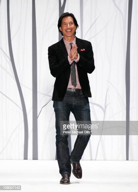 Designer Perry Ellis walks the runway at the Perry Ellis Fall 2011 fashion show during MercedesBenz Fashion Week at The Stage at Lincoln Center on...