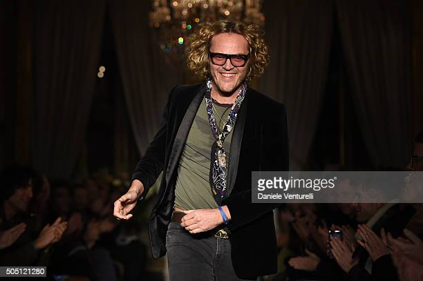 Designer Peter Dundas aknowledge the applause of the public after the Roberto Cavalli show as a part of Milan Men's Fashion Week FW16 on January 15...