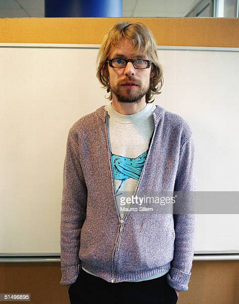 Designer Peter Jensen poses at a studio session at Baden Powell House on February 16 2004 in London