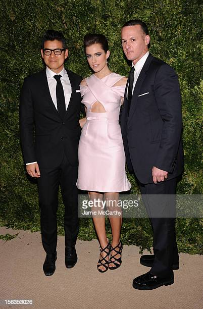 Designer Peter Som Allison Williams and designer Alejandro Ingelmo attends The Ninth Annual CFDA/Vogue Fashion Fund Awards at 548 West 22nd Street on...