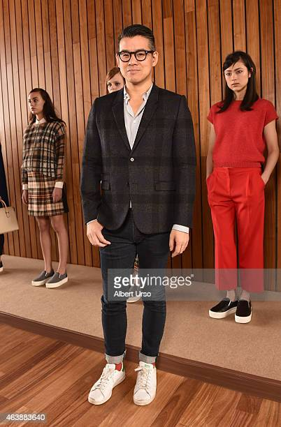 Designer Peter Som poses at the Blue Les Copains fashion presentation during MercedesBenz Fashion Week Fall 2015 at The Standard Hotel on February 19...
