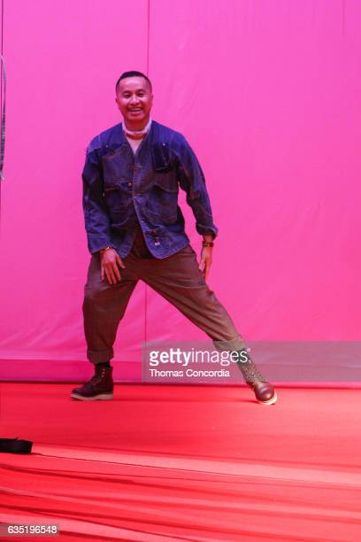 Designer Philip Lim greets the audience after presenting his 3.1 Phillip Lim collection during New York Fashion Week at Spring Studios on February...