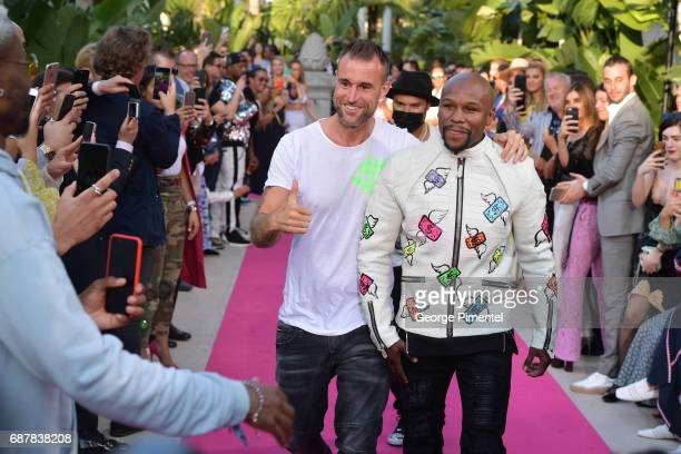 Designer Philipp Plein and Boxer Floyd Mayweather Jr attend the runway at the Philipp Plein Cruise Show 2018 during the 70th annual Cannes Film...