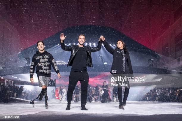 Designer Philipp Plein and Irina Shayk walk the runway at the Philipp Plein Fashion Show during New York Fashion Week on February 10 2018 in New York...