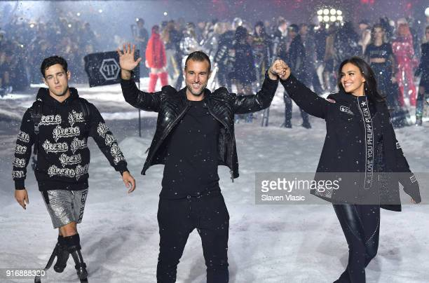 Designer Philipp Plein and models walk the runway at Philipp Plein fashion show during the February 2018 New York Fashion Week The Shows on February...
