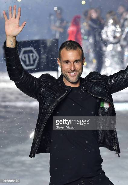 Designer Philipp Plein walks the runway at Philipp Plein fashion show during the February 2018 New York Fashion Week The Shows on February 10 2018 in...
