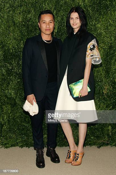 Designer Phillip Lim and model Katlin Aas attend CFDA and Vogue 2013 Fashion Fund Finalists Celebration at Spring Studios on November 11 2013 in New...