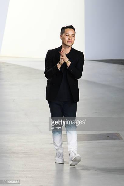 Designer Phillip Lim walks the runway at the 3.1 Phillip Lim 2012 fashion show during Mercedes-Benz Fashion Week at St. John's Center Studios on...