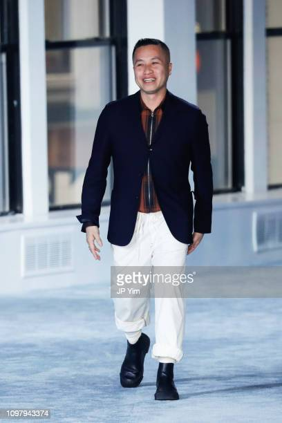 Designer Phillip Lim walks the runway at the conclusion of his 3.1 Phillip Lim FW19 Collection at Center 415 on February 11, 2019 in New York City.