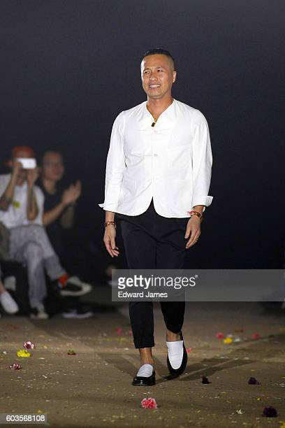 Designer Phillip Lim walks the runway during the 3.1 Phillip Lim fashion show at Skylight Clarkson North on September 12, 2016 in New York City.