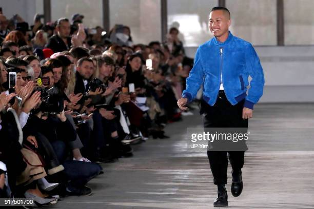 Designer Phillip Lim walks the runway for 3.1 Phillip Lim during New York Fashion Week: The Shows at Skylight Clarkson North on February 12, 2018 in...