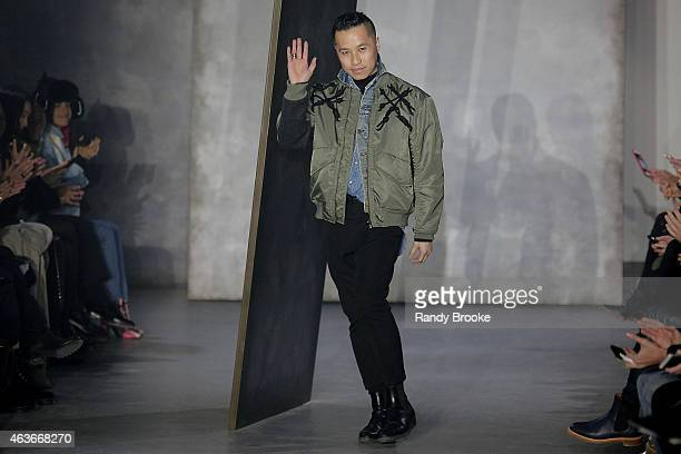 Designer Phillip Lim waves at the 31 Phillip Lim Fashion Show during MercedesBenz Fashion Week Fall 2015 at Skylight Clarkson SQ on February 16 2015...