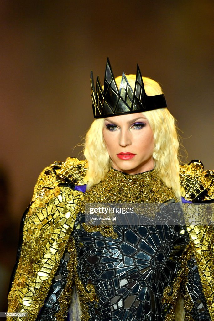 Designer Phillipe Blond walks the runway at the Disney Villains x The Blonds NYFW Show during New York Fashion Week: The Shows at Gallery I at Spring Studios on September 7, 2018 in New York City.